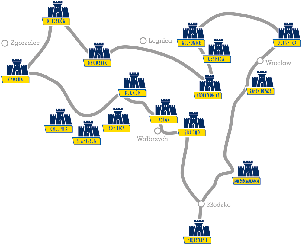Mapa pochodzi z http://szlakzamkowipalacow.eu/index.php/pl/szlak.html